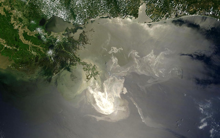 The Deepwater Horizon oil slick as seen by the NASA Terra satellite, 24 May 2010