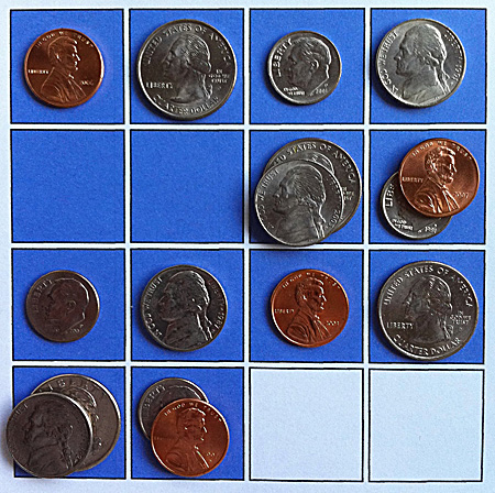 four coins and two blanks: first solution