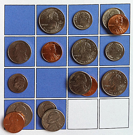 four coins and two blanks: second solution