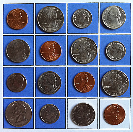 starting configuration of 16 coins on 4x4 template with two blanks
