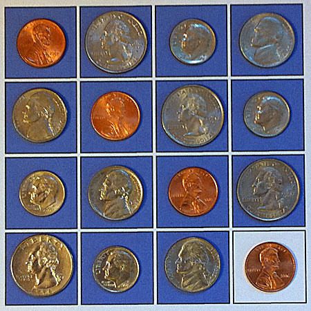 initial configuration of four permutations of coins