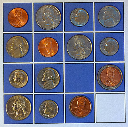 coins after second adjustment to restore permutation