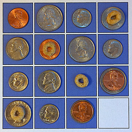coins and cheerios -- the five-permutation solution