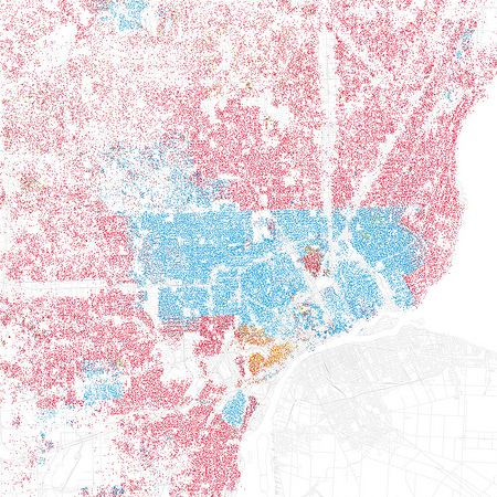 Eric Fischer's map of race and ethnicity in Detroit