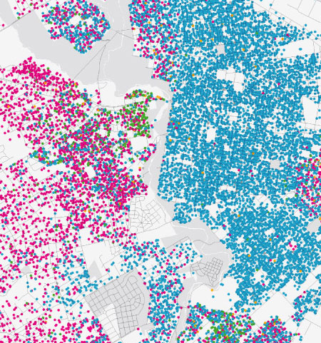race distribution in West Philadelphia and suburbs, map prepared by Bill Rankin
