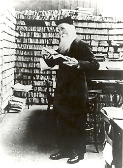 James Murray, principal editor of the OED from 1878 to 1915, poses in his scriptorium