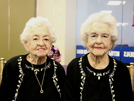 Inez Harries and Venice Shaw at 100; photo credit James Davis, Lockheed Federal Credit Union