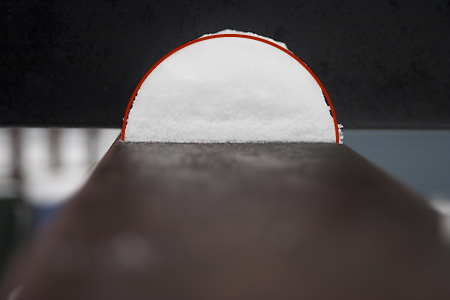 the snow semiball with a semicircle fitted by eye