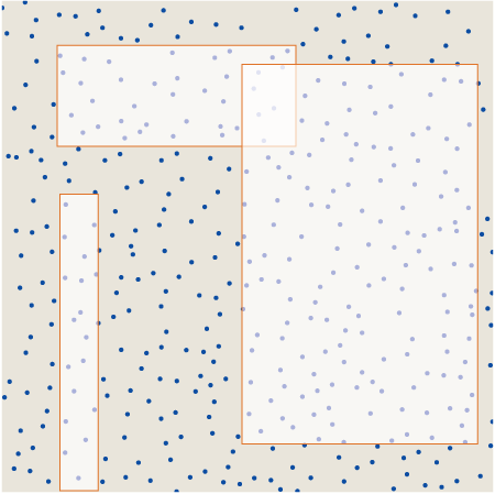 raindrop pattern with three axis-parallel rectangles