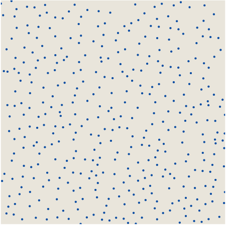 positions of 394 raindrops on a tabletop