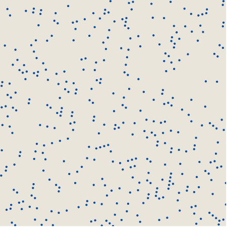 394 pseudorandom dots on a skewed 60-by-60 grid