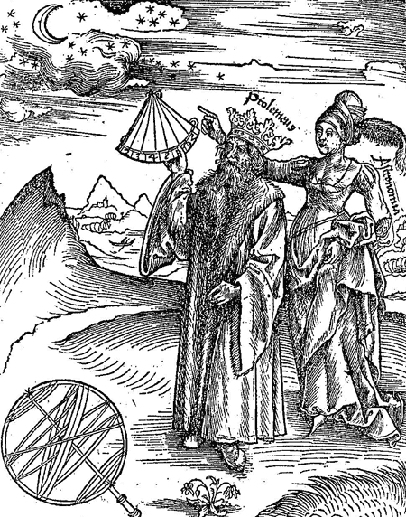 Ptolemy and Astronomia with stars and moon from Margarita Philosophica 1504