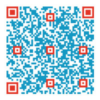 QR code in red and blue pixels