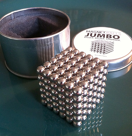 216 jumbo magnet balls in a cubic array