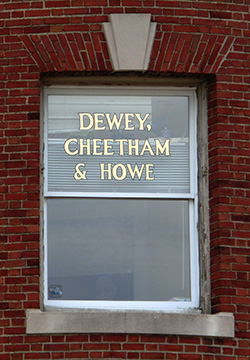 The Harvard Square window of Dewey, Cheatham and Howe.