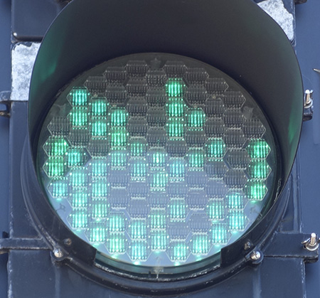 green traffic light with 40 dark pixels out of 85; location: Boston Ave., Somerville MA