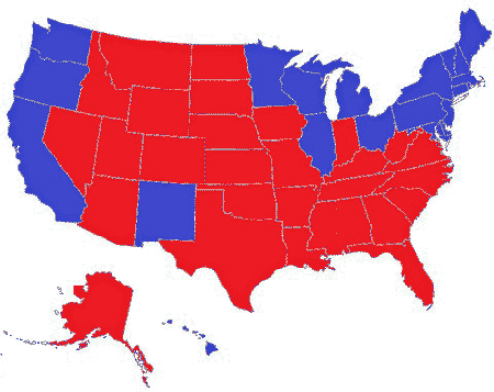 map of a 269-269 tie in the electoral college