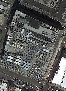 Google Maps image of building at Bank and Halsey Streets in Newark NJ, with lots of generators and chillers on the roof