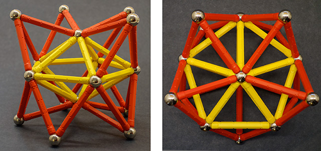 two more views of the same 16-vertex cluster, from an equatorial position (left) and a polar point of view (right)