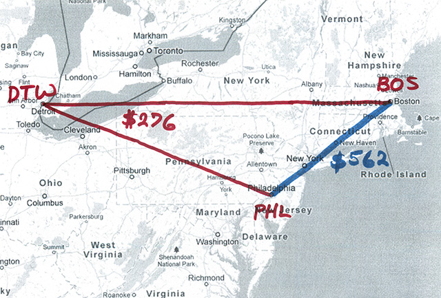 map of northeastern us showing direct route from Boston to Philadelphia and a detour via Detroit