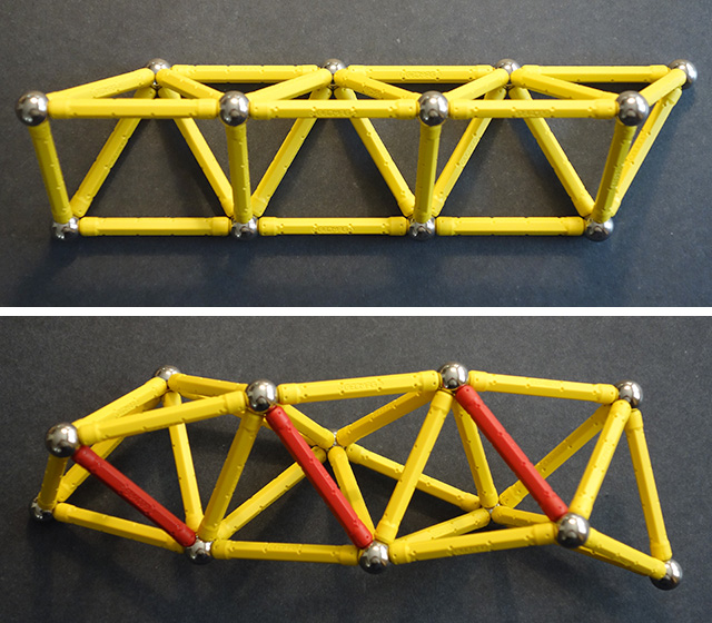 A truss made of alternating tetrahedra and half-octahedra twists to become a tetrahelix.