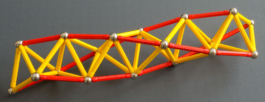 Geomags model of a tetrahelix