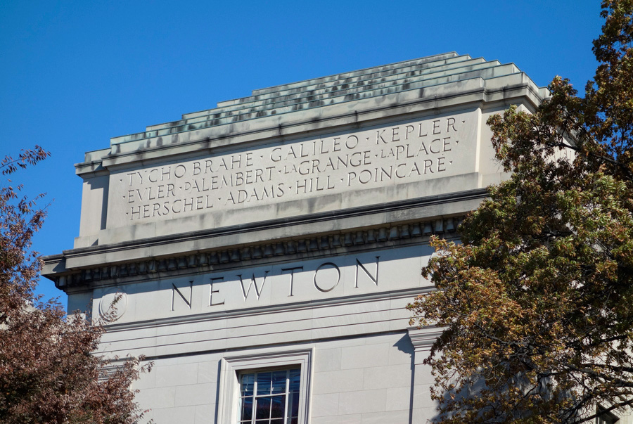 names in stone: Newton, Tycho Brahe, Galileo, Kepler, Euler, D'Alembert, LaGrange, LaPlace, Herschel, Adams, Hill, Poincare