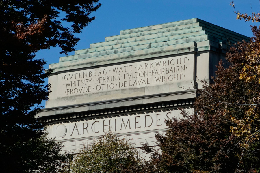 MIT panel listing inventors and mechanical engineers: Archimedes, Gutenberg, Watt, Arkwright, Whitney, Perkins, Fulton, Fairbairn, Froude, Otto, De Laval, Wright