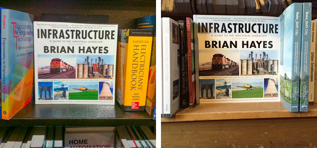 Infrastructure on the shelves at two Cambridge MA bookstores