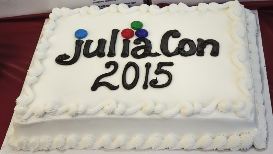 the celebratory cake at the conference, inscribed JuliaCon 2015