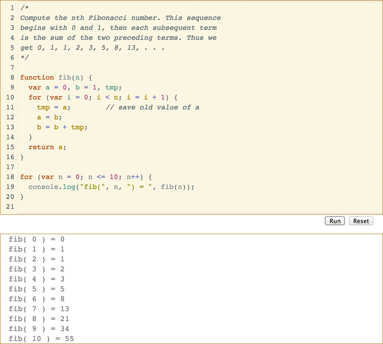 CodeMirror editor window with a JavaScript fibonacci function, and the output in the panel below.