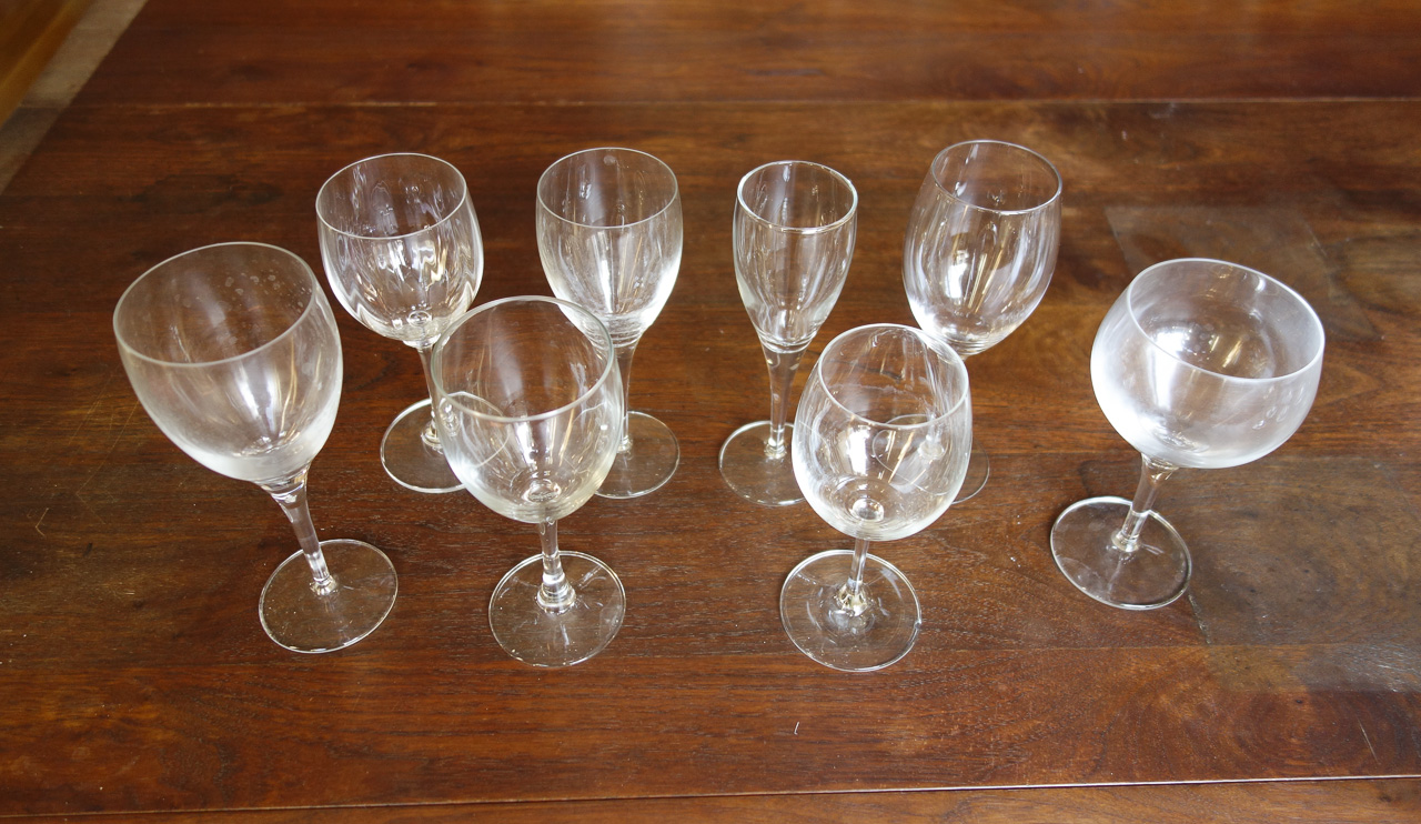 8 glasses with no two alike