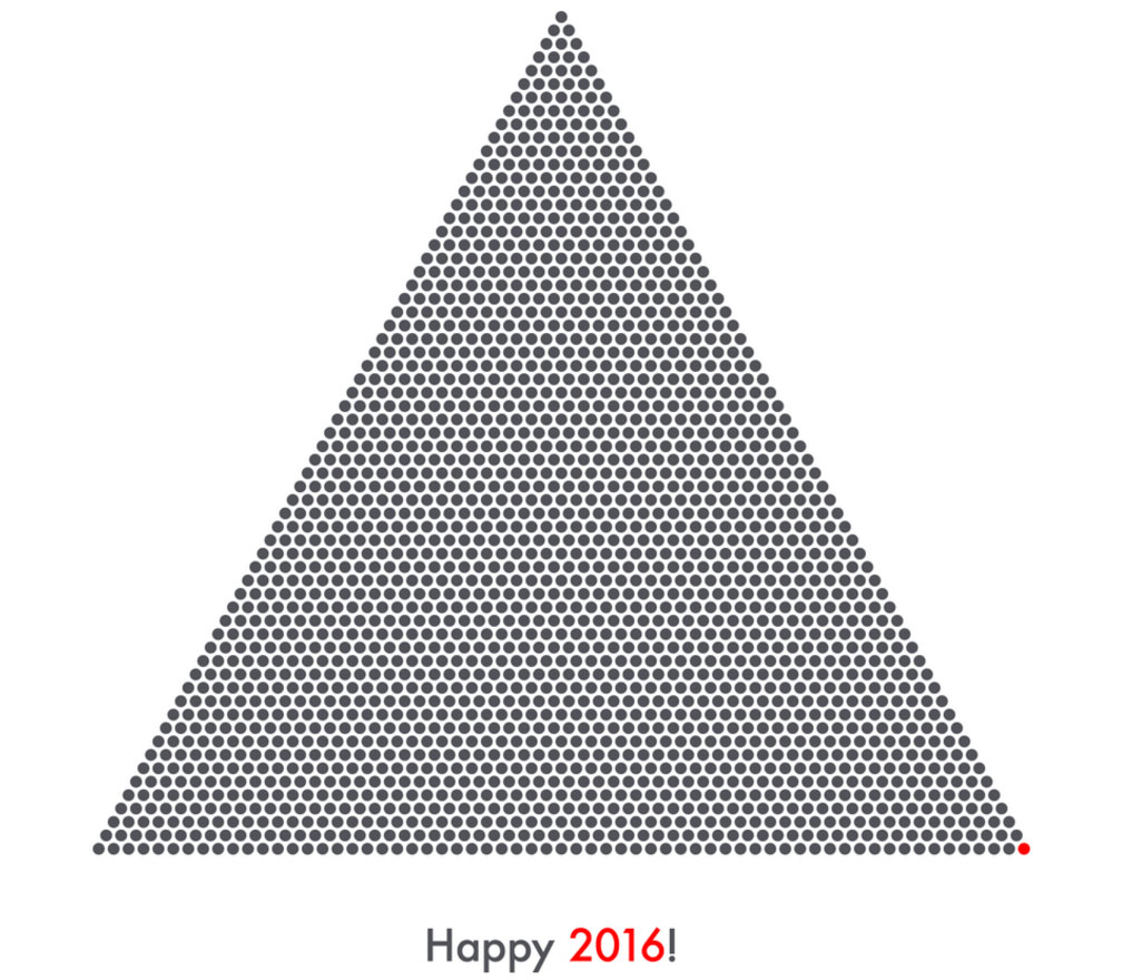 2016 dots arranged to form a equilateral triangle