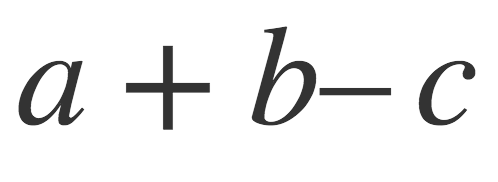 Typeset expression a + b- c, with too little space between the b and the minus sign.