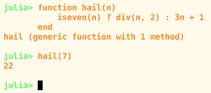 A snippet from the Julia REPL