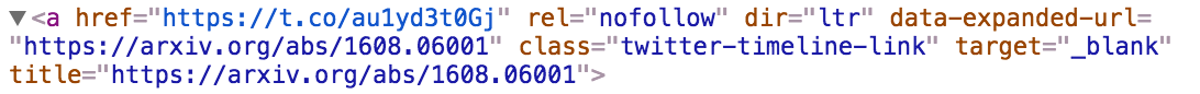 Beckett tweet HTML anchor tag