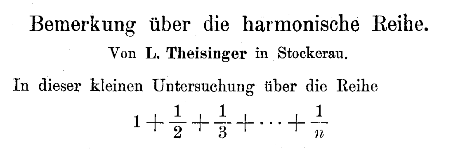 Opening lines of the Theisinger 1915 paper