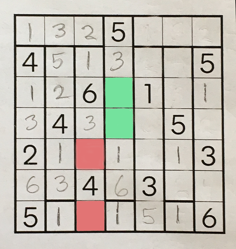 The same puzzle, with two blank squares colored.