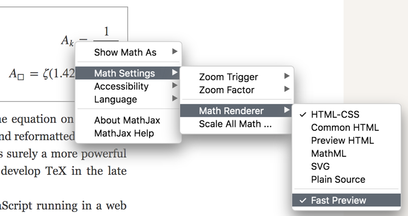 Math settings submenus