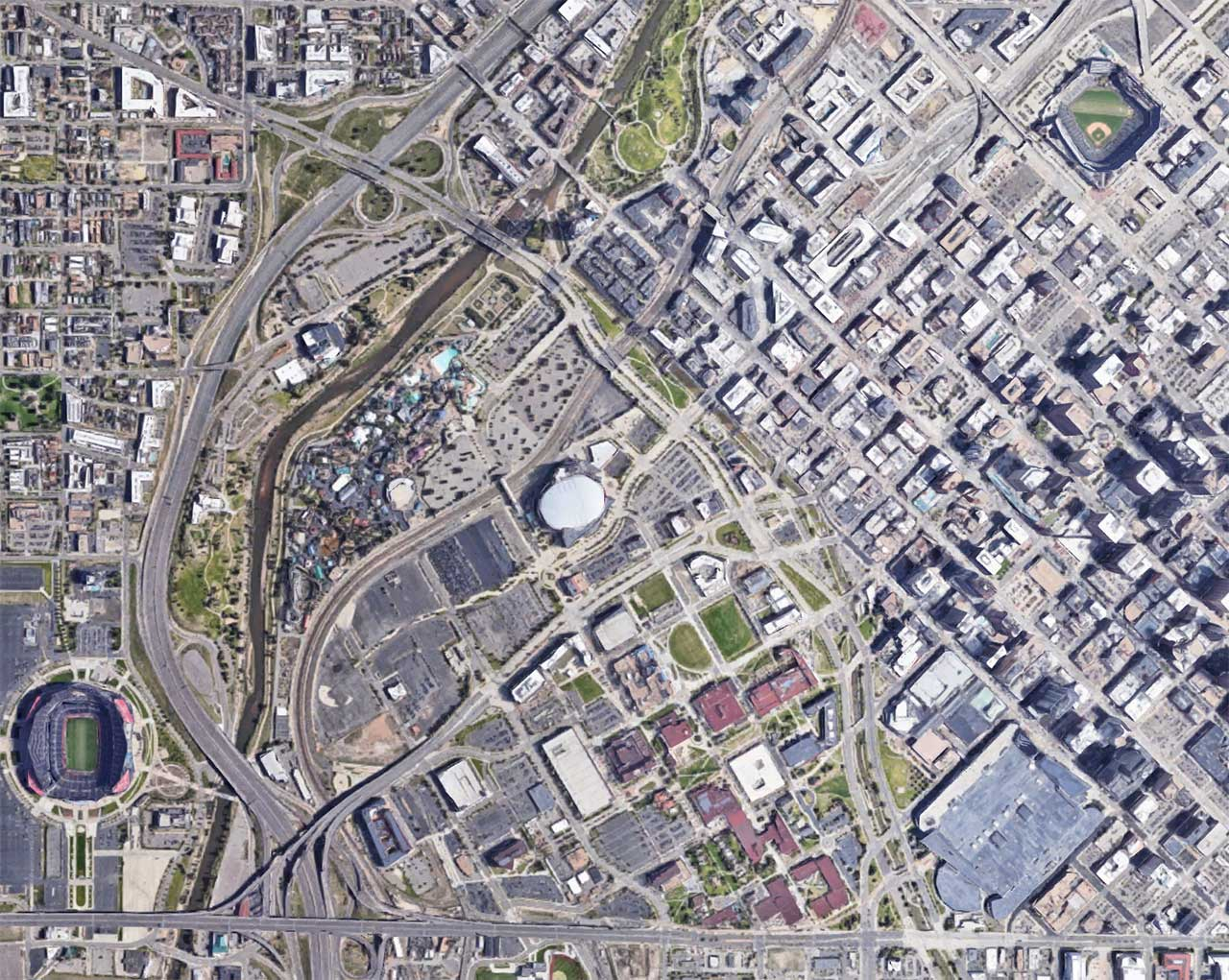 Overhead view of downtown Denver with Colorado Convention Center and stadiums, from Google Maps.