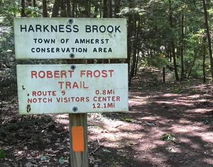 Signs at a trailhead on the Robert Frost Trail, Amherst Mass.