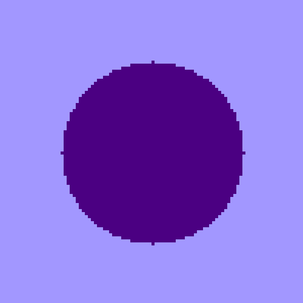 Circular pond of indigo cells in the middle of a mauve landmass.